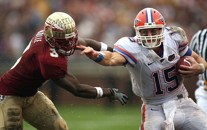 Florida's Tim Tebow improved his chances for back-to-back Heismans with a strong showing in Tallahassee: 263 total yards and four touchdowns.