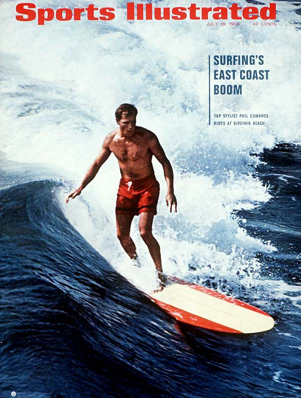 "Sports Illustrated enlisted the help of legendary surfer Phil Edwards -- the first to surf Hawaii's Banzai Pipeline -- to demonstrate surfing's ""east coast boom."" The boom may have been overstated."