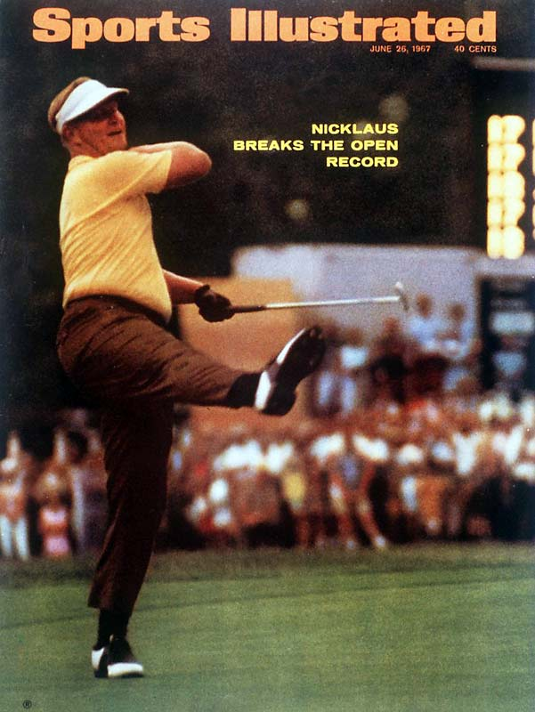 With the career Grand Slam (all four majors) already under his belt, 27-year old Jack Nicklaus sprinted off to a fast start in the '67 U.S. Open at Baltusrol. Nicklaus's 275 broke Ben Hogan's 19-year-old, 72-hole scoring record, and gave Arnold Palmer his second consecutive runner-up finish.
