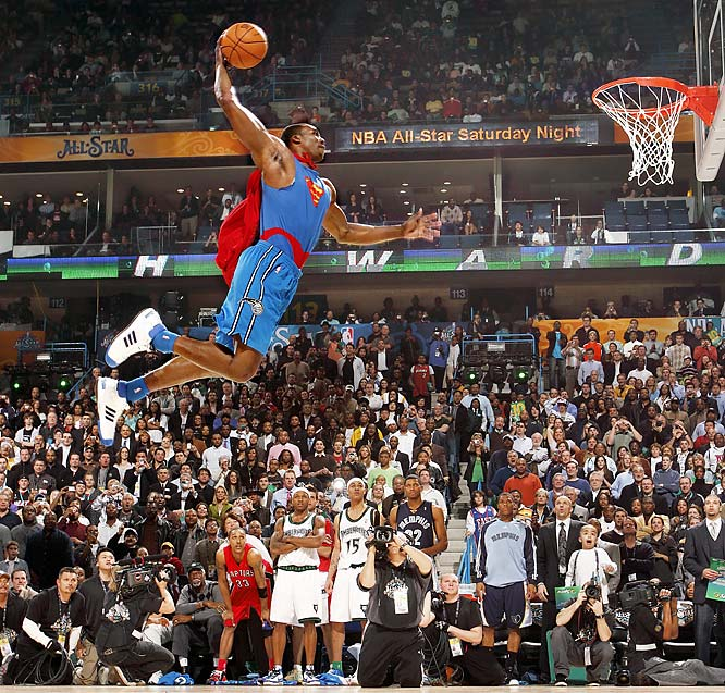 The Orlando's Magic's superman, Dwight Howard, gets ready to throw down at the NBA All-Star Weekend dunk contest in New Orleans.