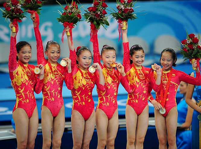 Amid unfounded allegations that some members of the team were younger than allowed, China's gymnastics team of (from left) Cheng Fei, Yang Yilin, Li Shanshan, He Kexin, Jiang Yuyuan and Deng Linlin won gold at the Beijing Olympics.