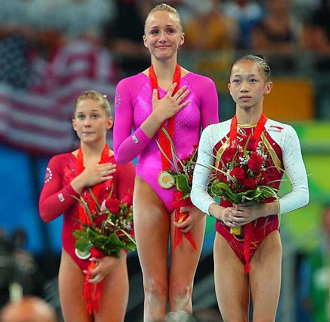 Often overshadowed by teammate Shawn Johnson heading into the Beijing Games, Liukin (center, whose parents were both champion gymnasts) won five Olympic medals in 2008, including one gold. In doing so she matched the American record for most gymnastic medals won in a single Games, joining Mary Lou Retton and Shannon Miller.