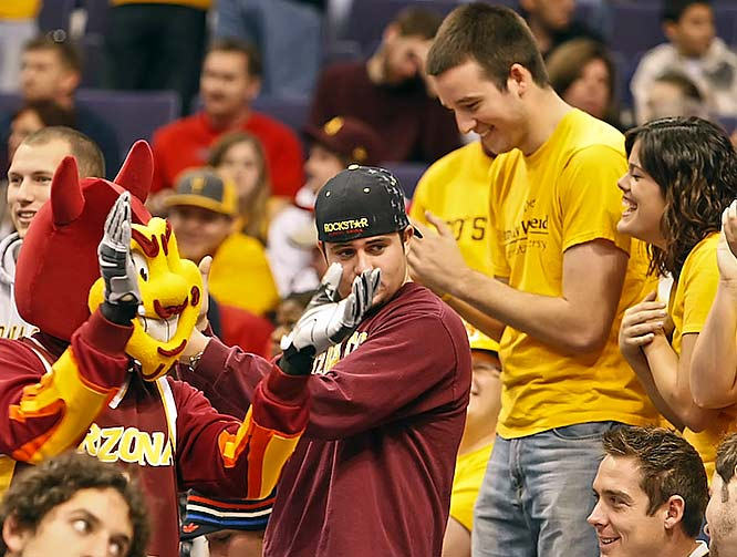 Sparky never misses an opportunity for crowd interaction.