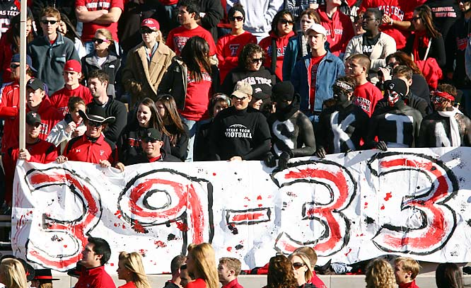 Texas Tech fans proudly remind the folks from the BCS that their Red Raiders beat the Texas Longhorns 39-33.