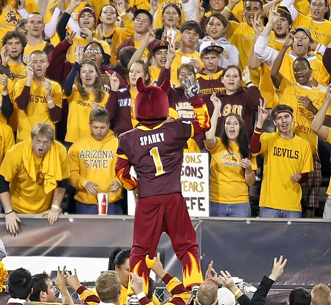 Sun Devil mascot Sparky led the student section in some spirited pitch fork flashing.