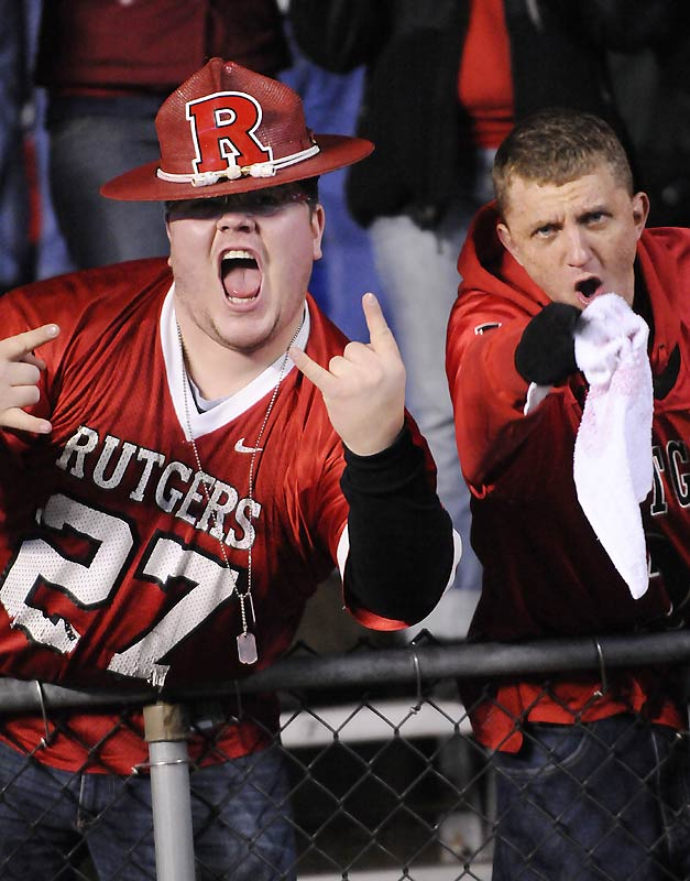 If our team had gone from embarrassingly inept to unstoppable like Rutgers has this season, we'd cheer and point, too.