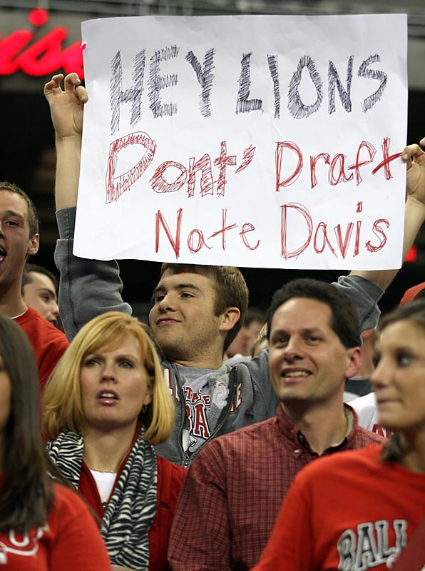 This Ball State fan made a prophetic sign, as Davis' fumble contributed to his team's first loss of the season.