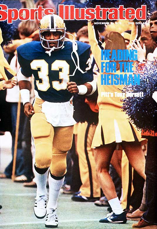 Tony Dorsett was indeed heading for the 1976 Heisman Trophy, which he won on the strength of an impressive 1,948 yards rushing yards, tops in the nation. Even more impressive was the performance of Dorsett's Panthers, who beat Georgia to win the national championship.