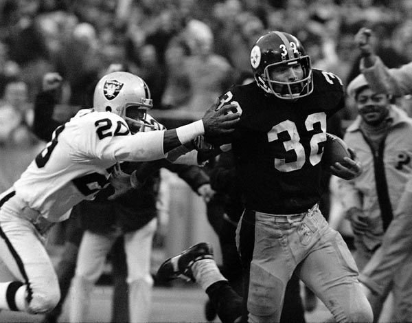 Pittsburgh beats Oakland 13-7 in an AFC Divisional playoff game on Franco Harris' Immaculate Reception. Jack Tatum hit the intended receiver, 'Frenchy' Fuqua, and knocked the ball back to Harris, who caught it and ran into the end zone. It was also the first playoff victory in franchise history.