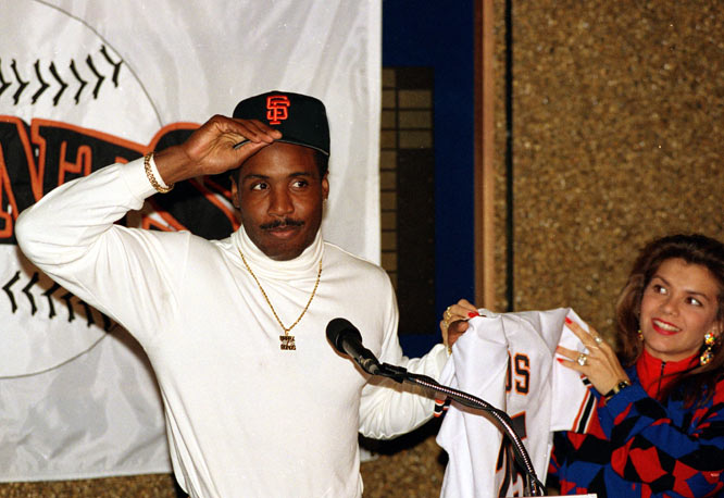 Barry Bonds and the San Francisco Giants reach an agreement on a six-year, $43 million contract, the richest in major league history.