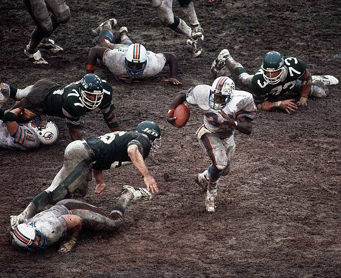 In the only playoff meeting between these rivals, in an AFC Championship no less, the Dolphins took advantage of a soaked Orange Bowl field to send Richard Todd's Jets packing. A.J. Duhe sealed the victory with a muddy interception return for a touchdown.
