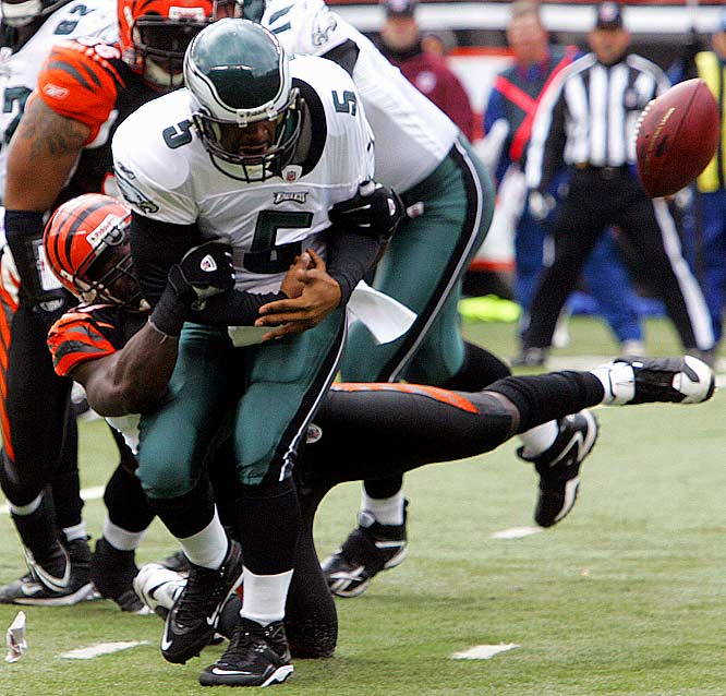"In a day where he fumbled and threw three interceptions, Donovan McNabb's biggest blunder was not knowing the NFL rule book only allowed one overtime frame. ""I've never been part of a tie,"" McNabb said afterwards. ""I never even knew it was in the rule book. I was looking forward to getting the opportunity to get out there and try to drive to win the game. But unfortunately with the rules, we settled with a tie."" Can't get more stressful than a tie."
