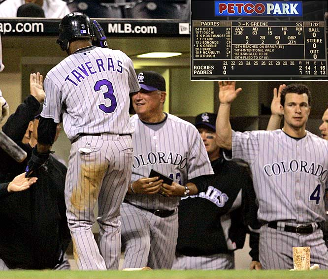 In a game that took 22 innings and lasted six hours, sixteen minutes, the Rockies defeated the Padres at Petco Park in San Diego. The game was the longest (in terms of innings played) in each franchise's history.