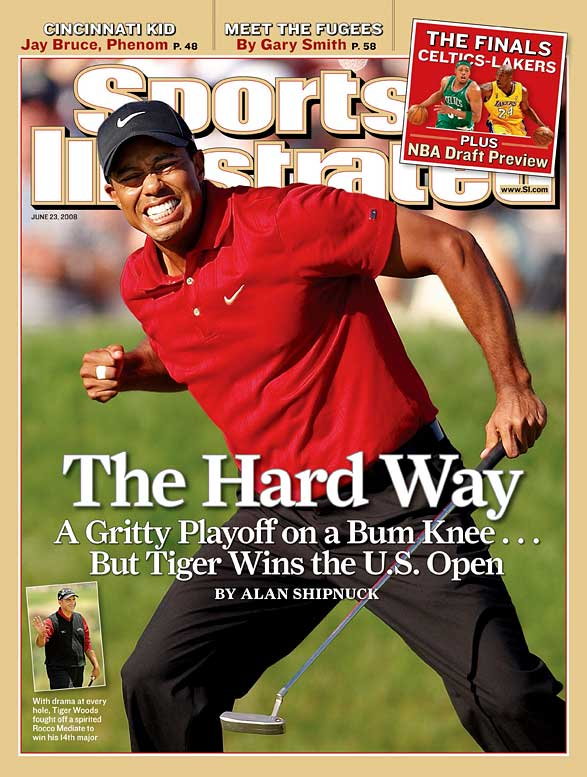 Knotted after 72-holes of play at Torrey Pines, Tiger Woods and Rocco Mediate played an 18-hole playoff to decide the U.S. Open champion. Still tied after the extra holes, the pair went to a sudden-death 19th hole, which Woods won with a par 4, all while playing on a fractured tibia.
