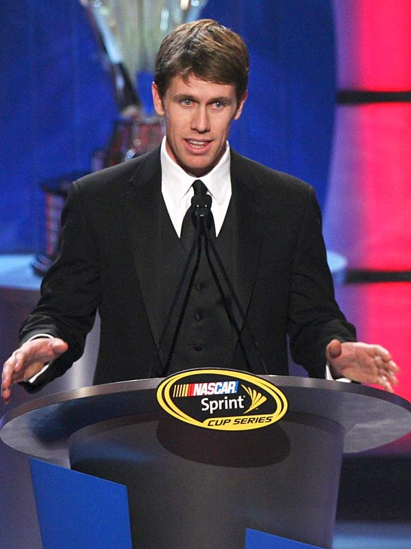 Second-place Chase finisher Carl Edwards speaks during the awards ceremony after a busy week that included a visit to the Sports Illustrated offices.