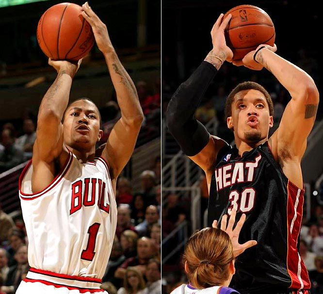 The top two picks in the 2008 draft -- Chicago's Derrick Rose and Miami's Michael Beasley -- meet for the first time. Beasley, now coming off the bench, has been more up and down than Rose, who has had only a handful of poor games while running the show for the Bulls.
