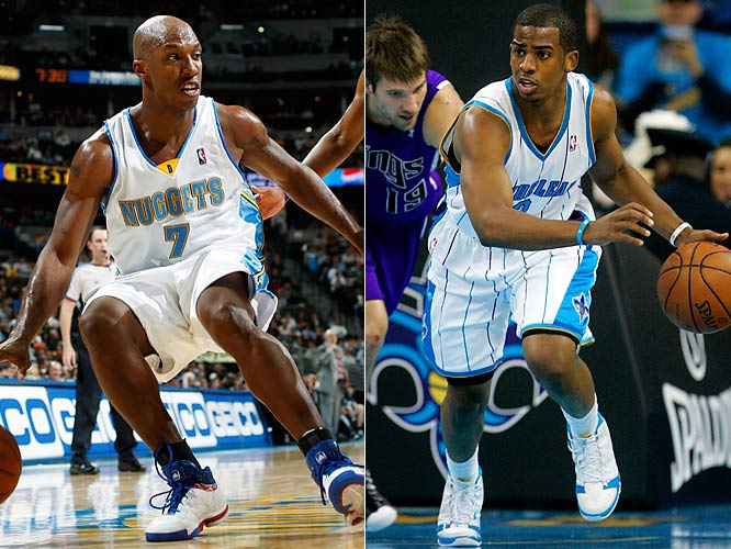 The Western Conference regularly features great matchups at point guard. The clash between Chris Paul and Chauncey Billups ranks among the best. Paul paces the Hornets in scoring and also is the league leader in assists and steals, while Billups is emerging as a dark horse MVP candidate because of his impact on the Nuggets.