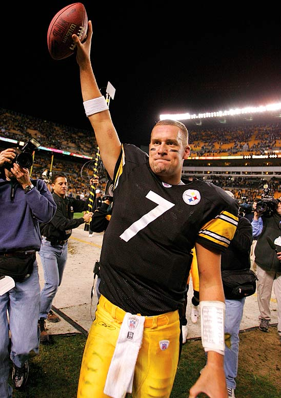 After an injury sidelined starting quarterback Tommy Maddox, Ben Roethlisberger took over the squad, and won an NFL rookie record 13-straight games to start his career. The Steelers finished the year 15-1, and earned home field advantage, but lost the AFC championship game to the Patriots.
