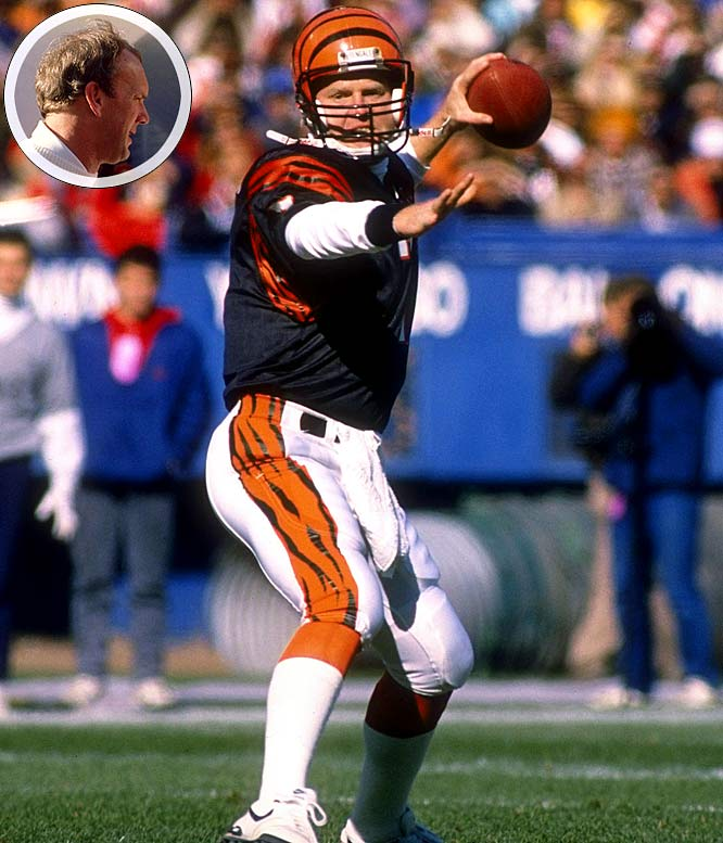 Following a season of feuding between Boomer Esiason and Sam Wyche (inset), the quarterback and coach set aside their differences, and posted one of the best seasons in franchise history. Esiason passed for 3,572 yards and 28 touchdowns, earned the NFL MVP, and the Bengals played their way into Super Bowl XXIII.
