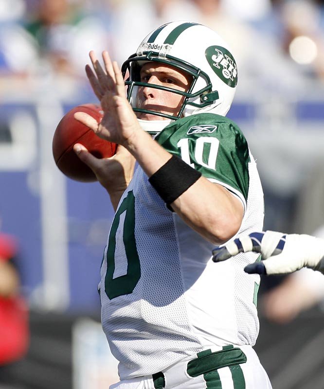 The Jets' quarterback missed most of the 2005 season because of two rotator cuff surgeries. He bounced back in 2006, starting all 16 games for the 10-6 Jets, throwing for 3,352 yards and 17 touchdowns, and locking up a Wild Card spot.