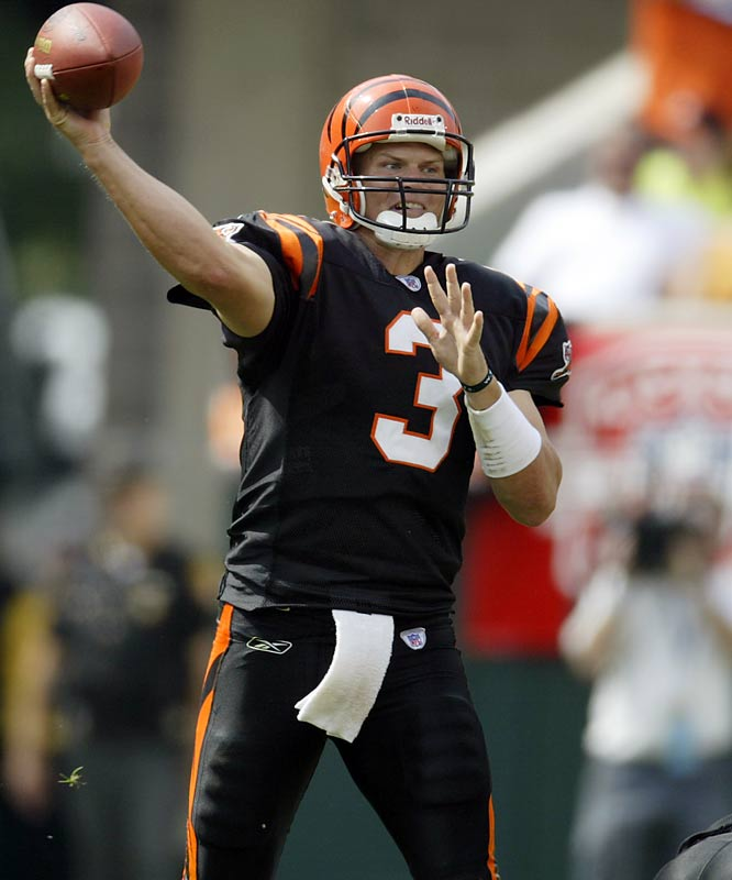 After bouncing around and losing his job to the likes of Akili Smith and Gus Frerotte, Jon Kitna took over the starting job in Cincinnati with Carson Palmer waiting in the wings. After a 1-4 start, Kitna rallied the Bengals, throwing an AFC-best 26 touchdowns, and helped lead the second-biggest single-season turnaround in Bengals history, taking them from 2-14 to 8-8.