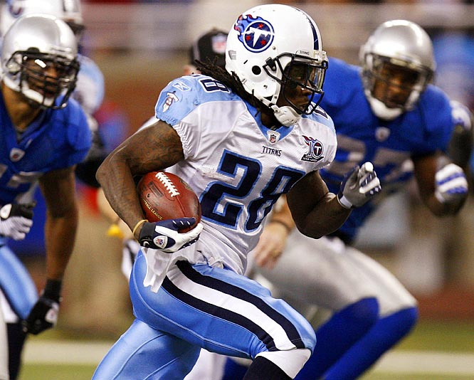 The Titans enjoyed a Thanksgiving Day feast on and off the field, with Johnson running for two touchdowns and 125 yards in the easy win over the Lions.