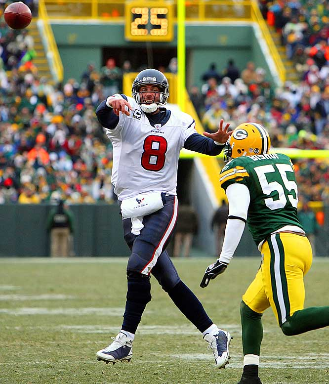 Schaub returned after missing four games with a knee injury and threw  for a career-high 414 yards and two touchdowns in the Texans' 24-21 victory over the Packers at Lambeau.