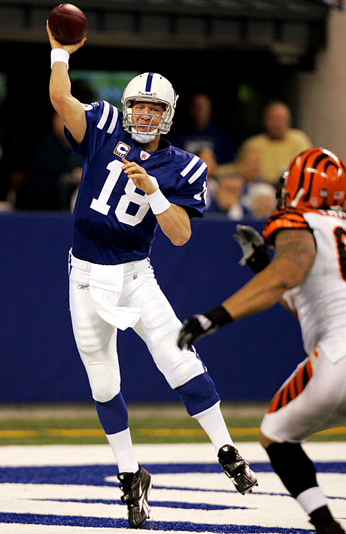 After failing to score an offensive touchdown last week against the Browns, Peyton Manning's offense buried the Bengals, 35-3. Manning connected on 26-of-32 passes for 277 yards and three touchdowns. He led three touchdown drives of 69 yards or longer.