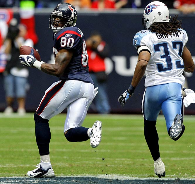 With Matt Shaub at the helm for a second game, Andre Johnson had a career-high 207 yards receiving and a touchdown as the Texans pulled off a 13-12 upset victory over the Titans, clouding the AFC playoff picture.