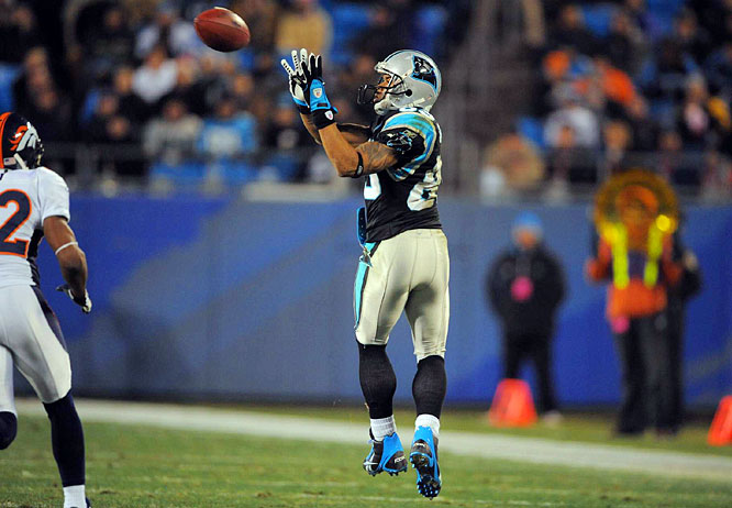 Steve Smith torched Broncos rookie cornerback Josh Barrett, catching nine passes for 165 yards and a touchdown. It was Smith's fourth-consecutive 100-yard receiving game (and seventh in his last nine), and it came at an important time for the Panthers, who clinched the NFC South with a 30-10 win.