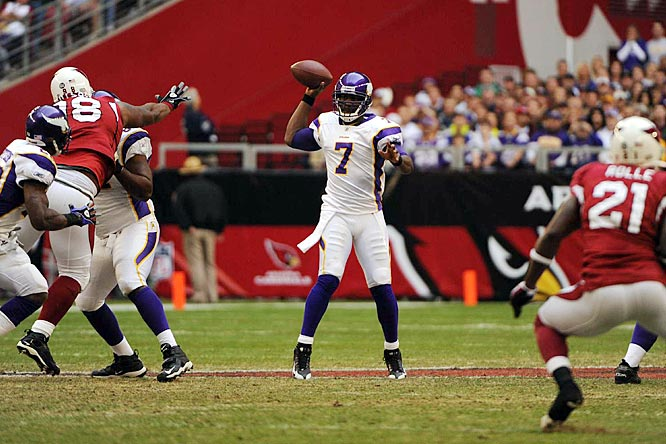 Playing in place of the injured Gus Frerotte, Jackson threw for four touchdowns, and the Vikings beat the Cardinals 35-14 to stay alone atop the NFC North. The four scores are especially impressive considering Jackson did it all on just 17 throws.