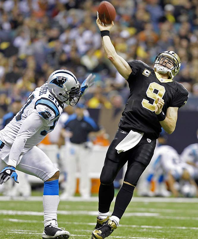 Brees needed 402 yards to pass Dan Marino's single-season record for passing yards. Although he led an improbable fourth quarter comeback, bringing the Saints back from 20 points down and throwing four touchdowns in the process, he fell 16 yards short of the record.