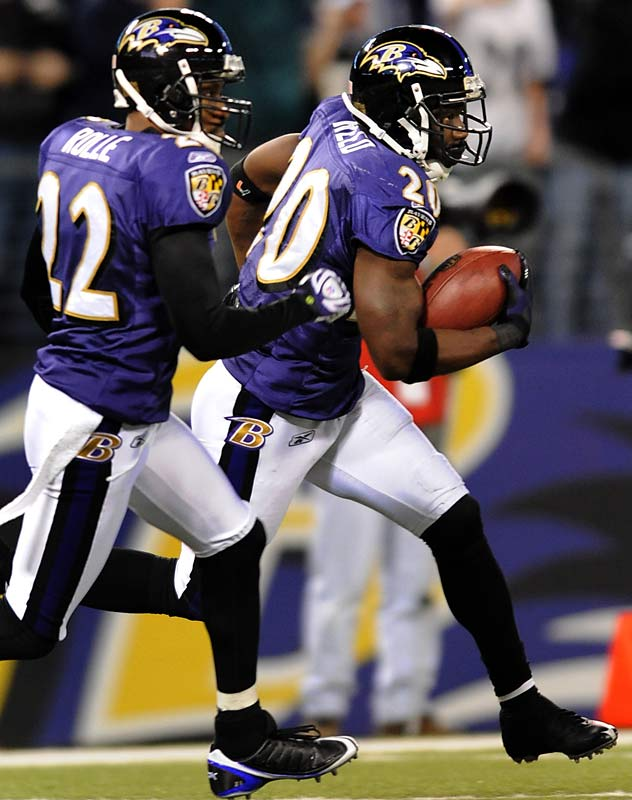 Reed made two interceptions, bringing his season total to nine -- the most in the league. In the second quarter, his 7-yard interception return and lateral to Haloti Ngata set up a Le'Ron McClain touchdown run, which gave the Ravens a 24-7 lead heading into the half, and helped them lock down a playoff spot.