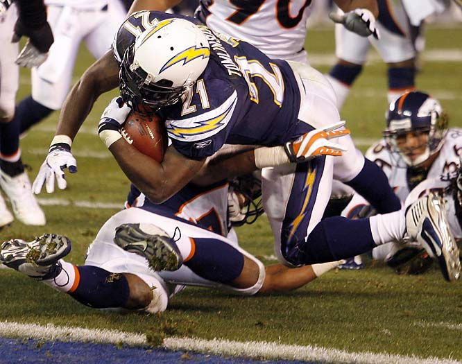 Tomlinson had his first three-touchdown game of the season as the Chargers rolled over the Broncos, 52-21, and clinched the AFC West. Tomlinson carried the ball 14 times for 96 yards and passed Marcus Allen for second place on the all-time list of rushing touchdowns with 126 before leaving the game with a groin injury.