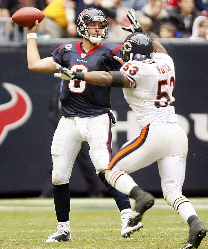 Down 10-0 after the first quarter to a Bears club fighting for its playoff life, Matt Schaub and the Texans rallied back, ending Chicago's postseason hopes. Schaub threw for 328 yards and two touchdowns on 27-of-36 passing as Houston closed out its season by winning five of its last six.