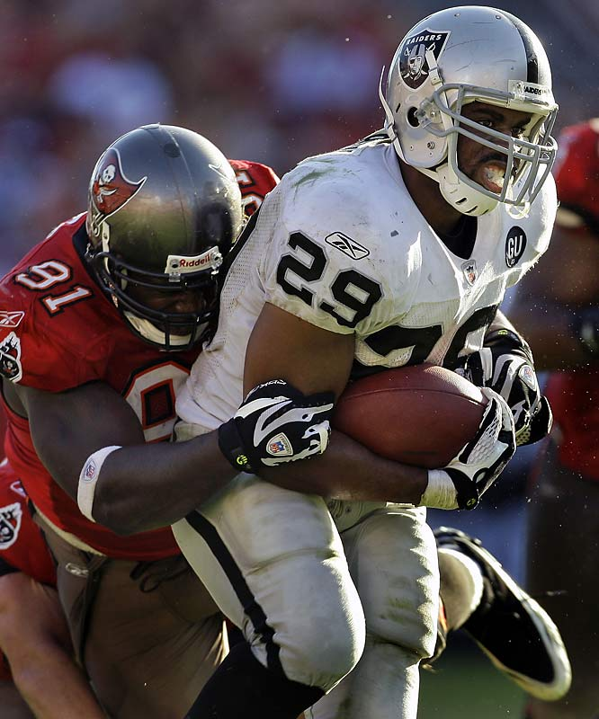 Michael Bush rushed for a career-high 177 yards and scored on a 67-yard, fourth-quarter run, helping the Raiders overcome a 10-point deficit and hand the Bucs their fourth consecutive loss. It was the rookie out of Louisville's first 100-yard game.