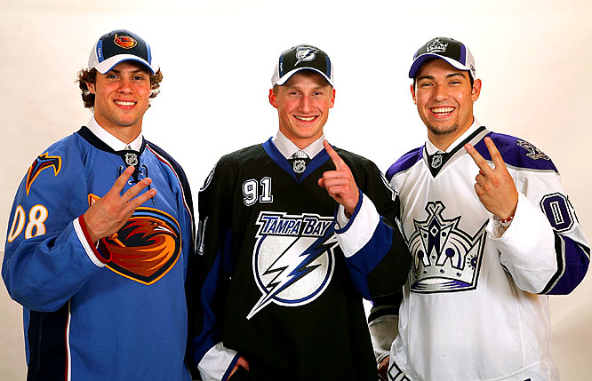 As expected, forward Steven Stamkos went first overall to Tampa Bay in the NHL Draft on June 21 in Ottawa. Defensemen Drew Doughty (Kings) and Zach Bogosian (Thrashers) were the next two picks. Immediately billed by the Bolts as a marquee attraction, Stamkos struggled early in the 2008-09 season while Doughty quickly established himself as a favorite for the Calder Trophy.
