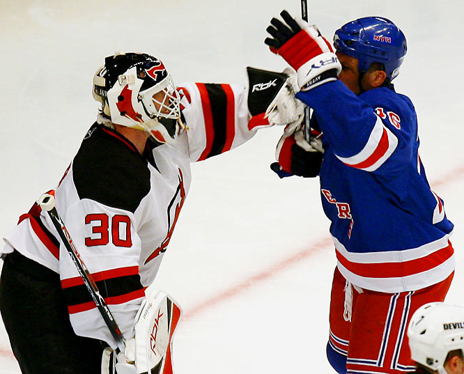 "During Game 3 of their Eastern quarter-final series, notorious Rangers pot-stirrer Sean Avery tried to disrupt Martin Brodeur by waving his stick in front of the Devils netminder's face. While not technically illegal, the spirit of the tactic moved the NHL to hastily ban it, thereby creating the Avery Rule. Pleasantries between the two players continued when Brodeur snubbed Avery in the handshake line after the Rangers won the series in five games. ""I guess Fatso forgot to shake my hand,"" Avery said."