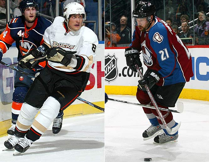 Continuing a trend started by Ducks defenseman Scott Niedermayer the previous December, the two veteran stars put off retirement and returned to their teams in mid-season. Selanne, 37, got a one-year deal worth $1.7 million and was on the ice with the Ducks by Jan. 28, going on to score 23 points in 26 games. Forsberg, 34, got $5 million and scored 14 points in 16 regular season games before chipping in another five in seven playoff games as the surprising Avs reached the second round. After the season, his chronic foot problem started his retire-or-return debate again.