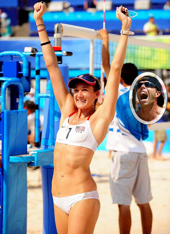 """Walsh apparently left Beijing with more than just her second Olympic gold medal this summer. She is pregnant with her first child with husband Casey Jennings, a fellow pro beach volleyball player, and is fairly certain of the timeline. """"I'm chubby and I'm pregnant and it's awesome!"""" said Kerri, who is 17 weeks pregnant. """"We believe we conceived during our last days in Beijing, or about a couple of days after we won the gold medal."""""""