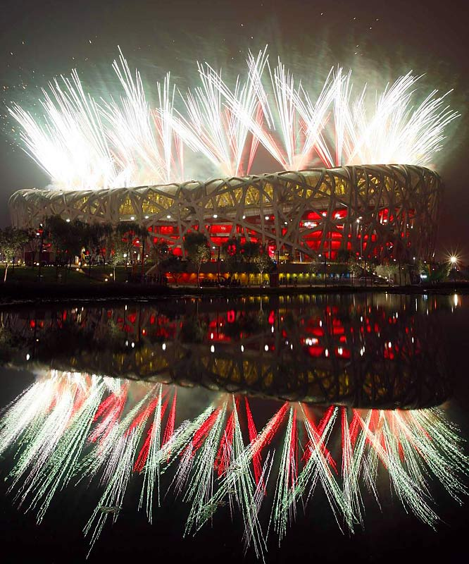 Fireworks let up the sky at the opening of the Beijing Games.