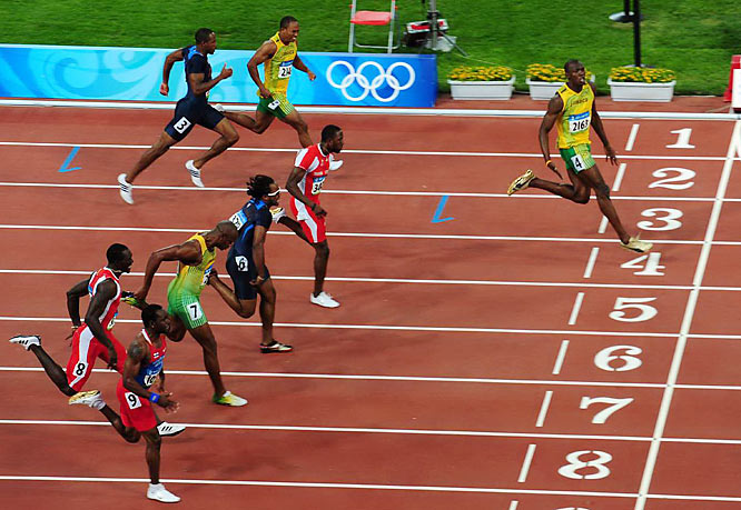 Jamaica's Usain Bolt set the world record in the 100 with a time of 9.69 at the Beijing Games.