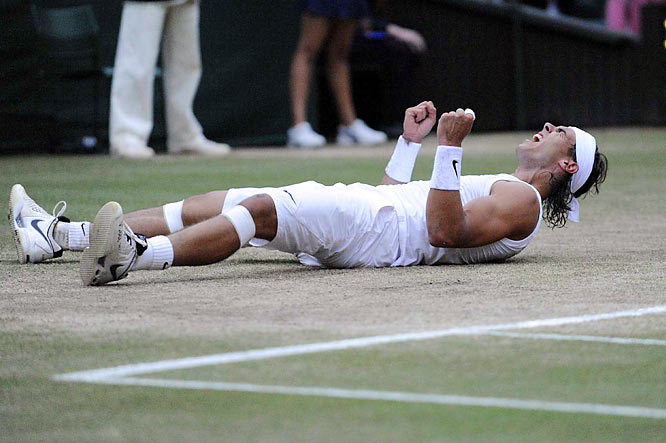 In a riveting, five-set marathon, Rafael Nadal outlasted Roger Federer 6-4, 6-4, 6-7 (5), 6-7 (8), 9-7 to become the first man to win Wimbledon and the French Open since Bjorn Borg in 1980.