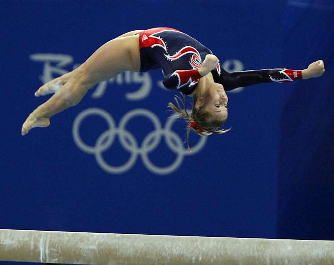 Shawn Johnson, 16, won the gold medal in the balance beam in Beijing.