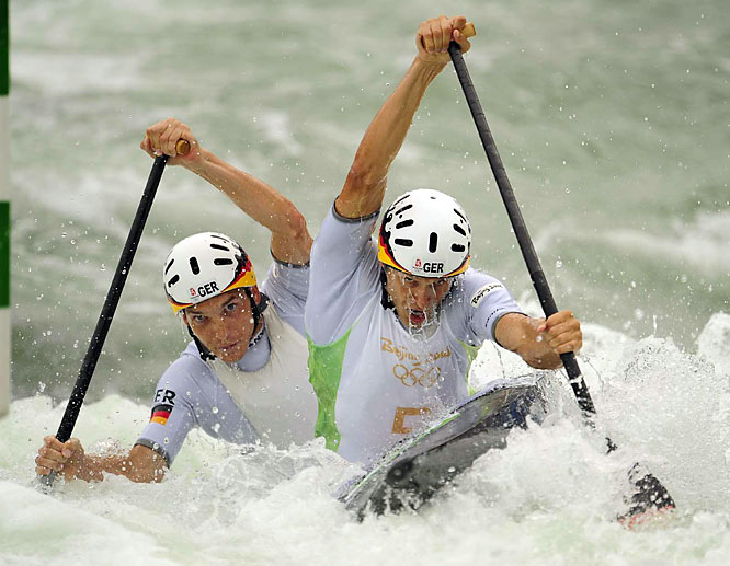 Germany's Felix Michel and Sebastian Piersig at the Beijing Olympics.