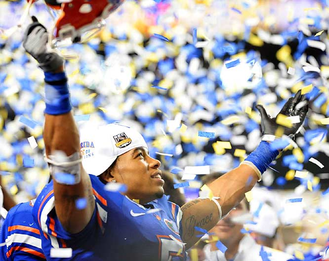 Florida's Joe Haden soaks up the confetti shower following the No. 2 Gators' victory over No. 1 Alabama.