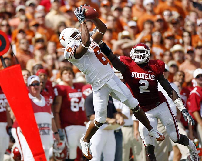 Quan Cosby had nine catches for 122 yards in the Longhorns 45-35 win over No. 1 Oklahoma in Dallas.