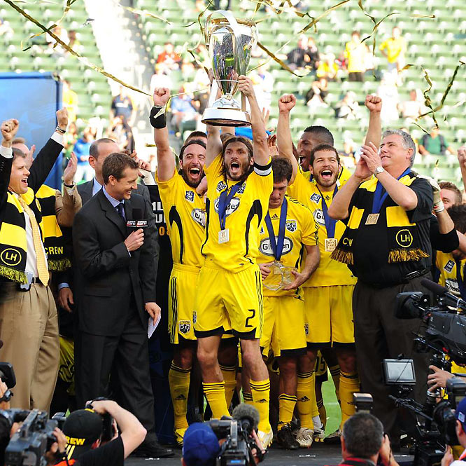 Christmas came early in Columbus. League MVP Guillermo Barros Schelotto put on a master class in the title game in November, dealing three assists to help the Crew win their first league crown with a 3-1 victory over the New York Red Bulls. It was also the first MLS hardware for captain and U.S. national-team veteran Frankie Hejduk (holding trophy), who put the finishing touch on Columbus' win with a header in the 82nd minute off a Schelotto pass.
