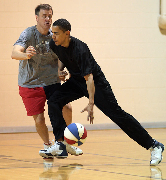 Obama drives the lane, Price's defense resembling a man slurping soup.