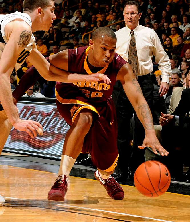 Smarting from a loss to bottom-feeder Northwestern over the weekend, the Gophers should be ready to defend their turf against the Boilermakers -- a team that had to overcome a 15-point deficit to beat Northwestern before Minnesota's fall.  Lawrence Westbrook, pictured, led the team in rebounds, points and assists in the loss.